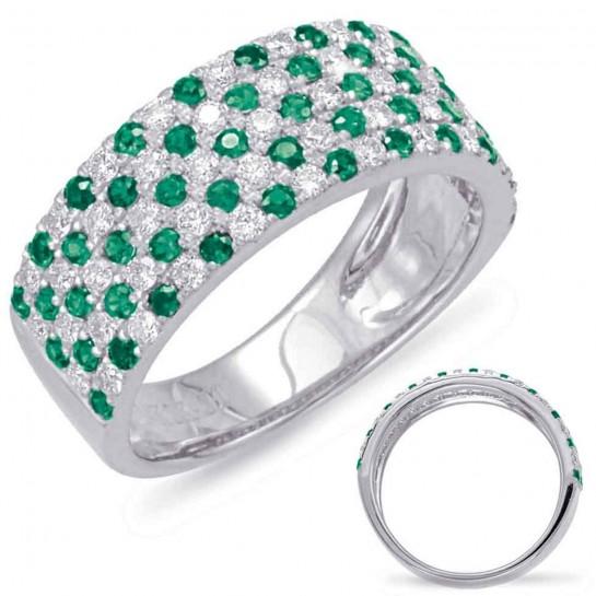 1.34 ctw. WHITE GOLD GREEN GARNET & DIAMOND RING 105 STONES 8MM