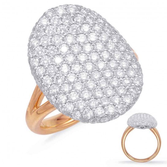 2 Carat Diamond ROSE & WHITE GOLD PAVE RING 20mm 132 Stones G VS SI