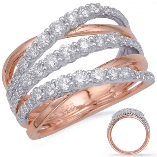 1.05 Carat Rose & White GOLD DIAMOND FASHION RING Micro Pave Set Yellow or White or Rose Gold G VS SI 57 Stones 12MM