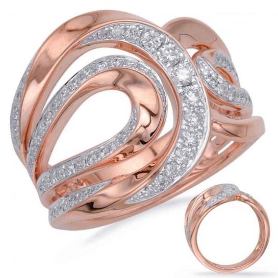 1/2 Carat Rose & White GOLD DIAMOND FASHION RING Micro Pave Set G VS SI 72 Stones 18MM