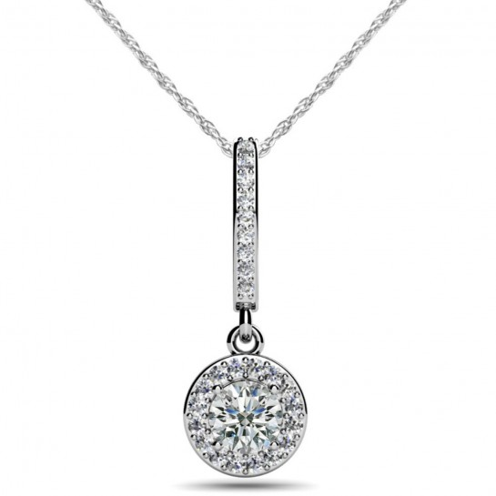 """0.68 ct Diamond Halo Hanging Pendant & 16"""" Inch Cable Chain"""