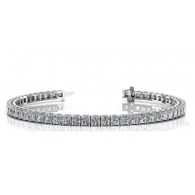 """4.00 ctw Diamond Tennis Bracelet with Princess Cut Natural Diamonds G SI and 7"""" Inches Long"""