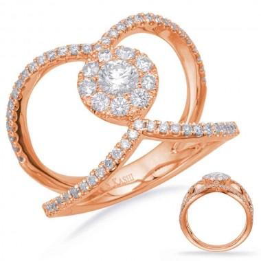 .85 ctw ROSE GOLD DIAMOND FASHION RING 15MM Top