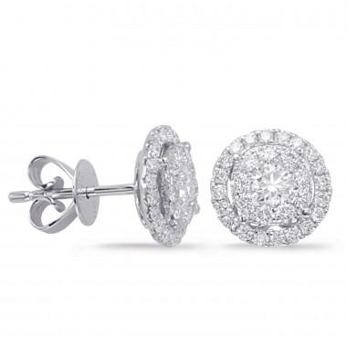 1/2 ct WHITE GOLD DIAMOND CLUSTER EARRING 8MM