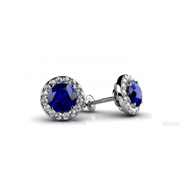 Blue Sapphire and Halo White Diamond Stud Earrings 1.25 CTW 5mm Sapphires