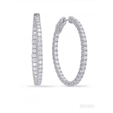2.00 CTW Diamond Hoop Earrings Oval Shape 2MM wide HI SI Ideal Quality 14K White Gold