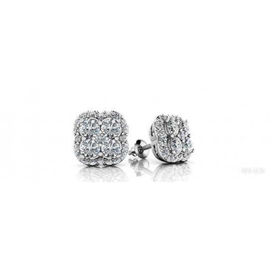 .80 ctw WHITE GOLD DIAMOND CLUSTER EARRING