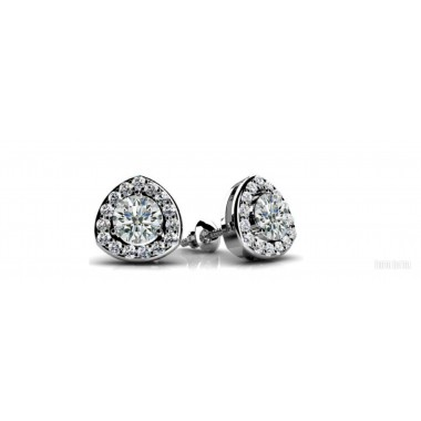 .70 ctw WHITE GOLD ROUND DIAMOND CENTER AND TRIANGULAR HALO CLUSTER EARRING