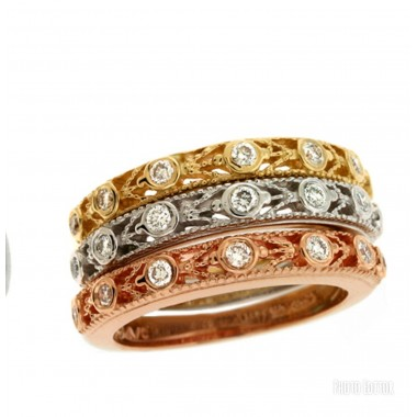 3 Rings Stackable Wedding Bands Rose -White- & Yellow Gold 14K 2MM 1/2 CTW Round Diamonds G VS SI Ideal Cut