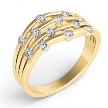 .50 carat 5 Strand RIGHT HAND RING Round DIAMONDS 14K YELLOW GOLD