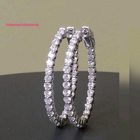 Oval Hoop Diamond Earrings 2.00 CTW