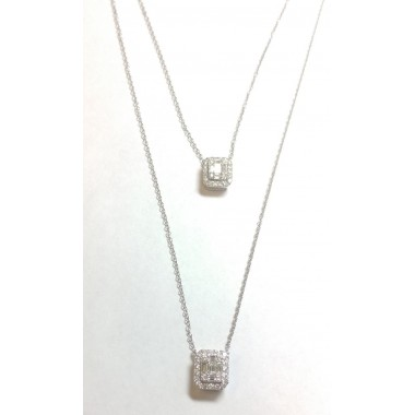 """0.62 ct Diamond double strand Emerald Cluster Halo Hanging Pendant & 16"""" Inch Cable Chain"""