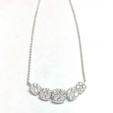 "1.12 ct Cushion Shape Cluster Diamond Necklace & 18"" Inch Cable Chain in 18K White & Yellow Gold"
