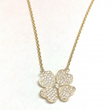 "0.41 ct Diamond Flower Heart Clover Shape Cluster Diamond Necklace & 18"" Inch Cable Chain in Rose Gold"