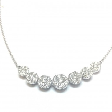 "1.22 ct Round Shape Cluster Diamond Necklace & 18"" Inch Cable Chain in 18K White Gold"