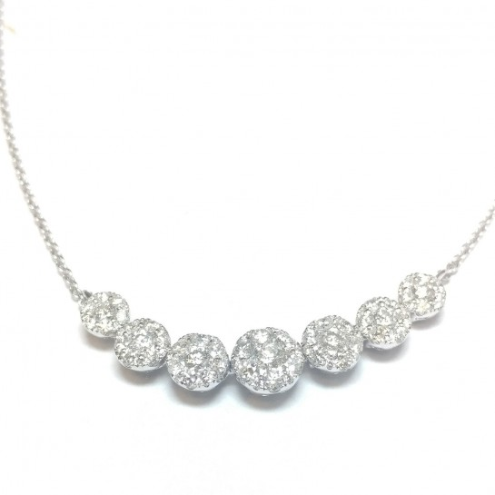 """1.22 ct Round Shape Cluster Diamond Necklace & 18"""" Inch Cable Chain in 18K White Gold"""