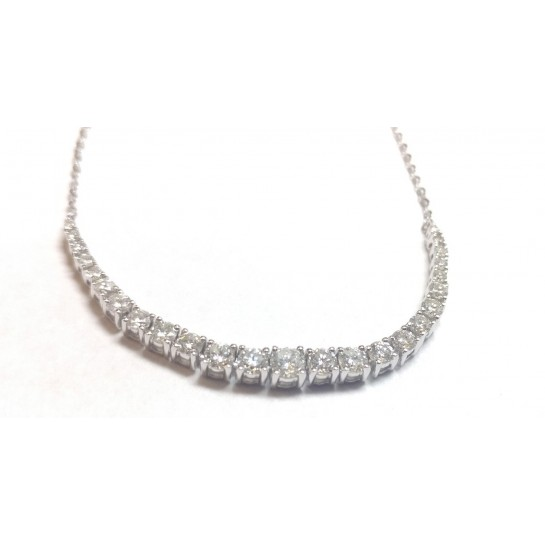 """1.14 ct Round Shape Diamond Tennis Necklace & 18"""" Inch Cable Chain in 18K White Gold"""