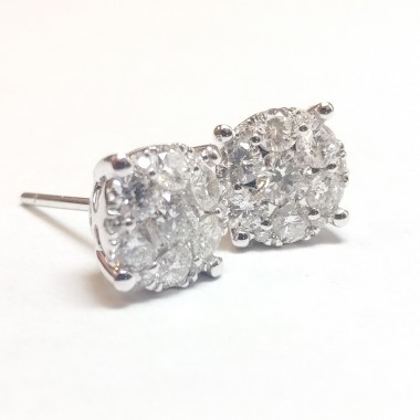 1.32 ctw WHITE GOLD ROUND DIAMOND CLUSTER EARRING