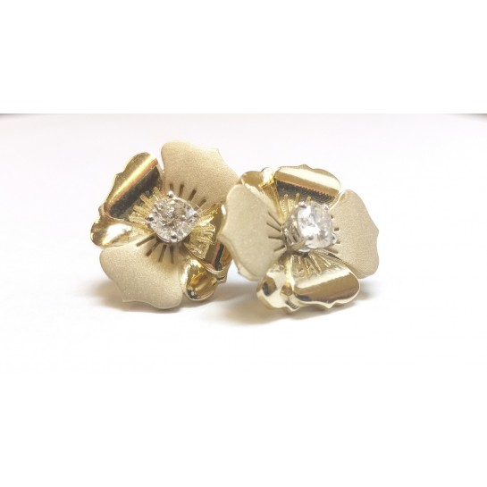 1.32 ctw WHITE GOLD ROUND DIAMOND CLUSTER EARRING