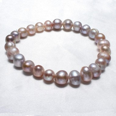 9-10mm Freshwater 100% Natural Pearl Bracelet Pink Purple Pearls Women Bracelet Wedding Jewelry Gift 7.5inch